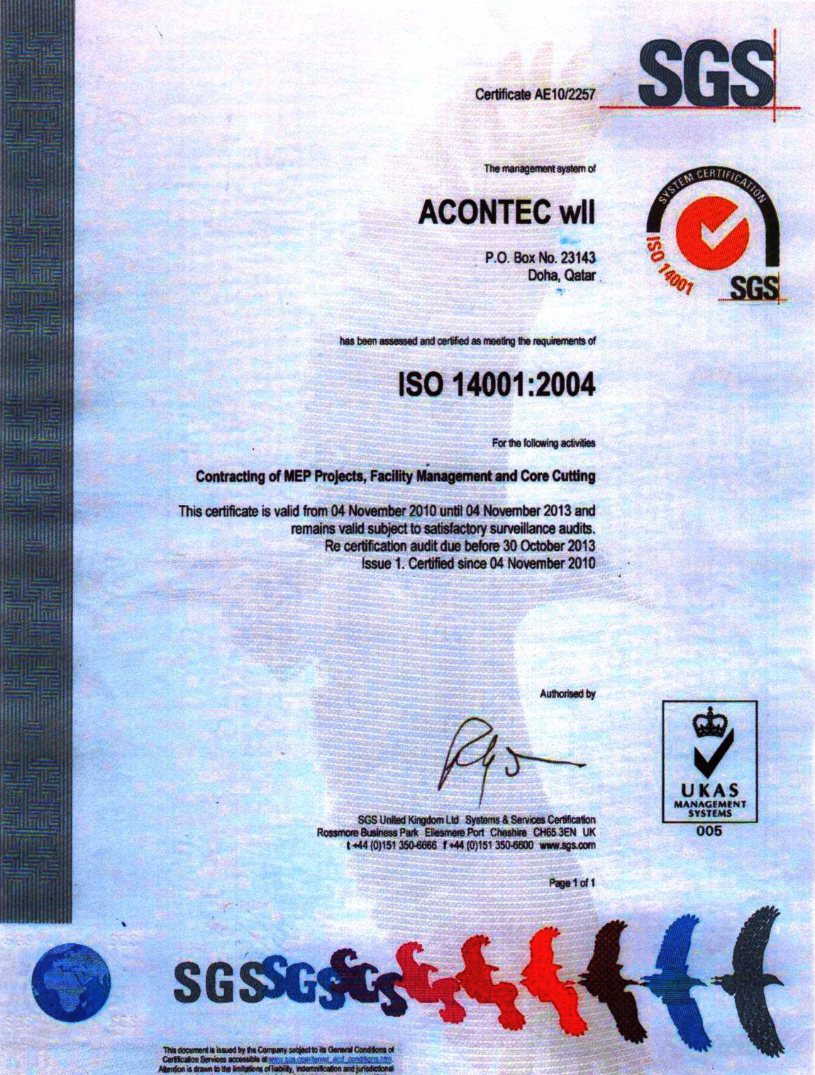 Sgs System Certificationcertificate Ae102257 Jmci
